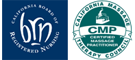 California board of registered nursing and California massage therapy council certified massage practitioner logos