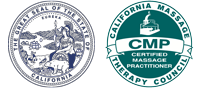 Great Seal of California and California massage therapy council certified massage practitioner